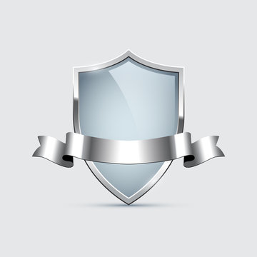 Glass shield with silver frame and silver ribbon isolated on gray background. Vector design element.
