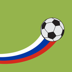 Football and Soccer with Russia Flag Vector and Icon