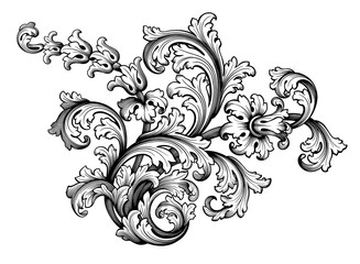 Vintage Baroque Victorian frame border flower pattern vector floral engraved scroll ornament leaf retro decorative design tattoo black and white filigree calligraphic heraldic shield swirl