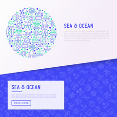 Sea and ocean journey concept in circle with thin line icons: sailboat, fishing, ship, oysters, anchor, octopus, compass, steering wheel, snorkel,. Vector illustration.