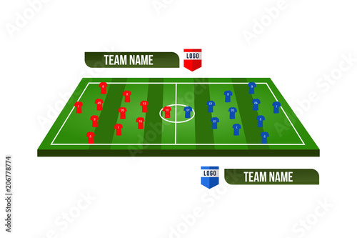 Soccer Or Football Field With Team Formation 3D Starting Line Up Broadcast Graphics For