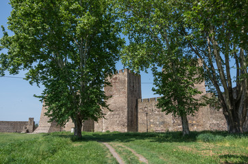 Wall and towers of  Smederevo Fortress is a medieval fortified city in Smederevo, Serbia, which was temporary capital of Serbia in the Middle Ages.