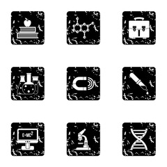 Scientific research icons set. Grunge illustration of 9 scientific research vector icons for web