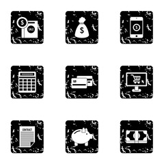 Cash icons set. Grunge illustration of 9 cash vector icons for web