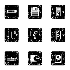 Computer repair icons set. Grunge illustration of 9 computer repair vector icons for web