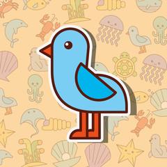 seagull bird sea life cartoon background vector illustration
