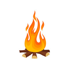 Cartoon icon of bonfire campfire. Tree logs and hot flame. game. Detailed flat vector illustration