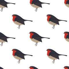Robin bird icon Geometric cartoon flat Vector illustration Stylized animal Seamless pattern