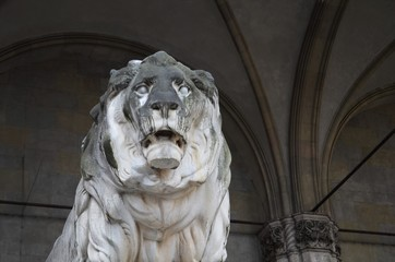 front view of the stone lion at the Feldherrnhalle in Munich in Germany
