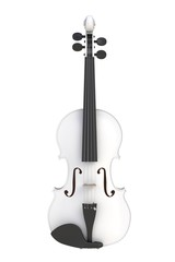 Classical white violin isolated on white background, String instrument, 3d rendering