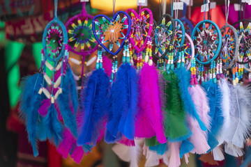 Beautiful Colorful Dream Catchers Hanging at a market