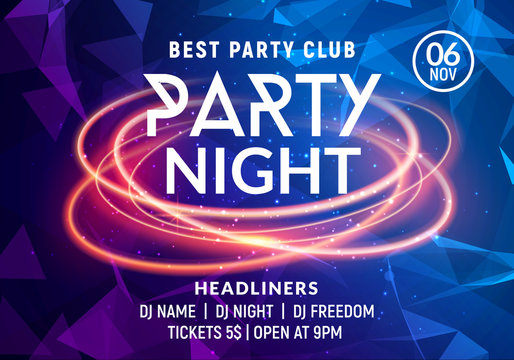 Night dance party music night poster template. Electro style concert disco club party event flyer invitation