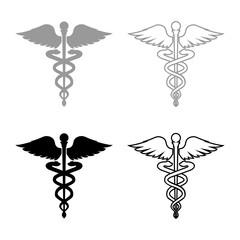 Caduceus health symbol Asclepius's Wand icon set grey black color