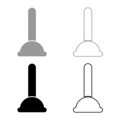 Toilet plunger sanitary tools household cleaning icon set grey black color