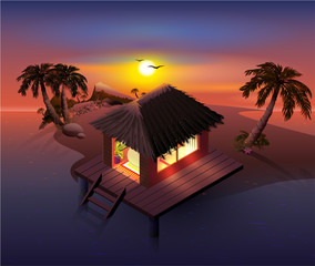 Night tropical island. Palm trees and shack on beach