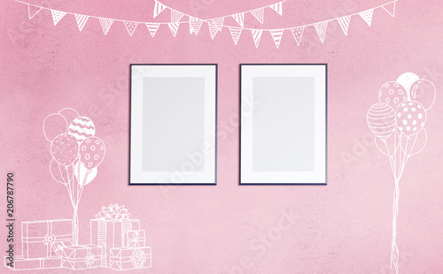 3d Rendering Illustration Of Room Preparing For Party, Baby Showers,  Birthday. Nice Chalk
