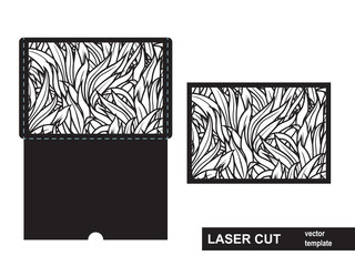 Laser cut template from grass. Wedding invitation or greeting card with abstract ornament. Open card. Suitable for greeting cards, invitations, menus.