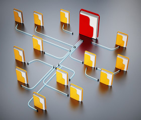 Folders connected to each other in a network. 3D illustration