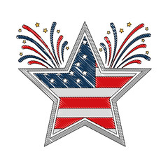 american flag in star with fireworks vector illustration