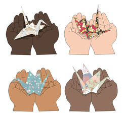 Illustration of a people's hands with different skin color together holding origami crane from patterned paper. Race equality, tolerance illustration. symbol of peace, friendship