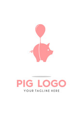 Flying Cute Pig with Ballon Logo Simple Modern Vector