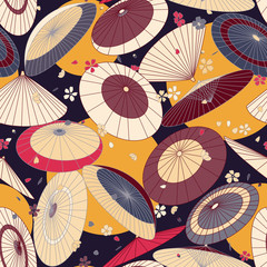 many Japanese traditional umbrellas and cherry blossom pattern. Bright, colored summer, spring Asian traditional print.