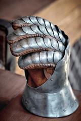 Closeup of an antique steel knight glove.