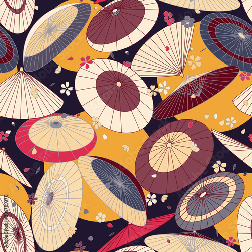 picture relating to Umbrella Pattern Printable Free referred to as countless Eastern regular umbrellas and cherry blossom