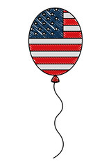 american flag in balloon decoration party vector illustration