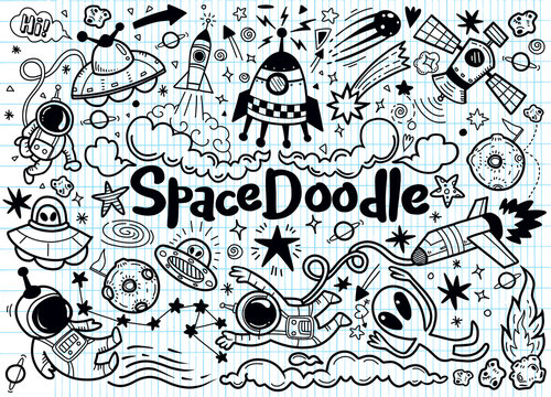 Hand drawn space elements pattern. Space background. Space doodle illustration. Vector illustration.