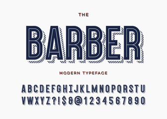 Barber font. Alphabet modern typeface typography sans serif colorful line style for party poster, printing on fabric, t shirt, promotion, decoration, stamp, label, special offer. 10 eps