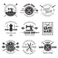 Tailor shop vector black emblems, labels, badges