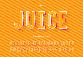 Juice modern typeface. Alphabet typography sans serif style for party poster, printing on fabric, t shirt, promotion, decoration, stamp, label, special offer. Cool trendy font. Vector 10 eps