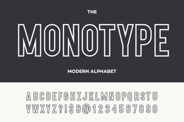 Monotype modern alphabet. Typeface modern typography sans serif style for party poster, printing on fabric, t shirt, promotion, decoration, stamp, label, special offer. Cool trendy font. Vector 10 eps