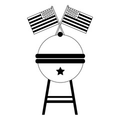 bbq grill and american flags celebration vector illustration