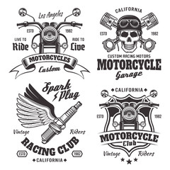 Mmotorcycles emblems, labels in monochrome style