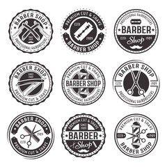 Barber shop set of nine vector vintage badges