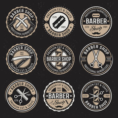 Barber shop vector colored badges on dark