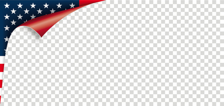 Scrolled Corner USA Flag Paper Cover Transparent