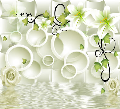3d circle background with flowers background wallpaper.