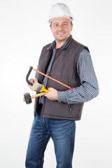 male builder repair construction, building, people and maintenance concept in white background