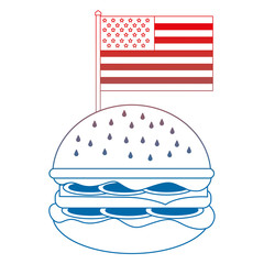 delicious hamburger with USA flag vector illustration design