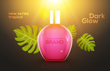 Cosmetic perfume tropic bottle design template. Summer beauty advertising female spray container perfume