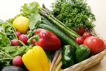 野菜の集合 Set of different vegetables in wicker basket