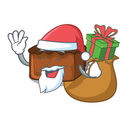 Santa with gift brownies mascot cartoon style