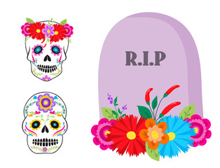 Colorful symbols Dia De Los muertos holiday day of the dead vector.