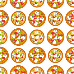 Delivery pizza seamless pattern background pizzeria restaurant service fast food vector illustration.
