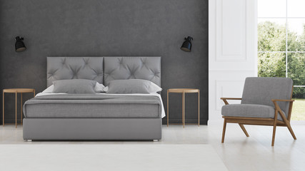Bedroom interior. Modern classic. 3D rendering.
