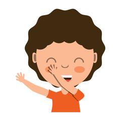 cartoon girl smiling over white background, colorful design. vector illustration