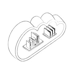 cloud storage stack books and folders documents isometric vector illustration sketch